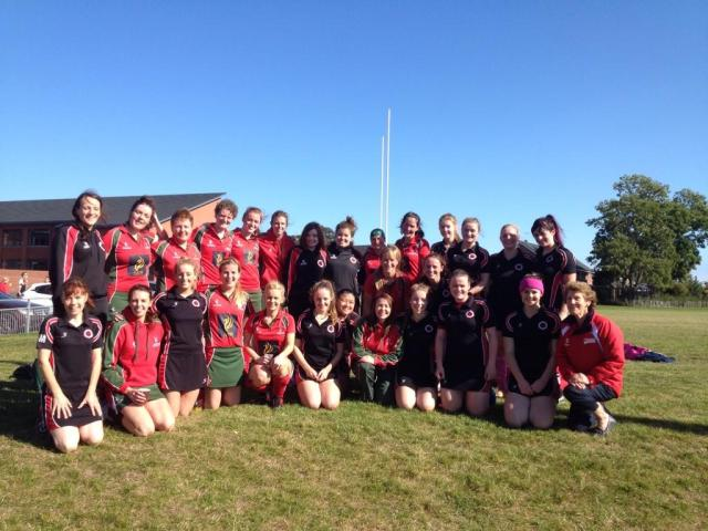 Members of DLHC 1XI and South Antrim with Ulster Hockey Union Hockey President Ann Rosa, 20th September 2014