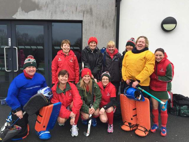 DLHC Vets who played in the Ulster Hockey Vets Blitz on 22nd February 2015: Siobhan McAdam, Ann Savage, Tori Rollo, Nicky Banford, Lisa Alexander, Alison McNeice, Maura Hennessey Kneeling: Jill Dennison, Kerrie Turtle, Janice McVeigh