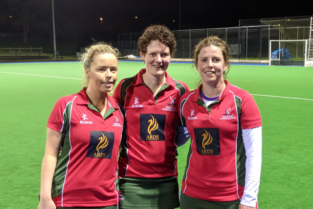 DLHC's 1XI's three goalscorers against Instonians: Leanna Young, Carolyn Scott and Ali Stevenson