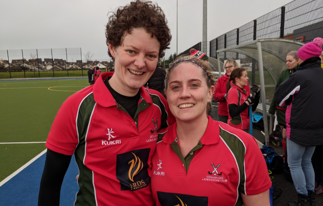 DLHC 1XI goalscorers against PSNI, Carolyn Scott and Emma McGimpsey