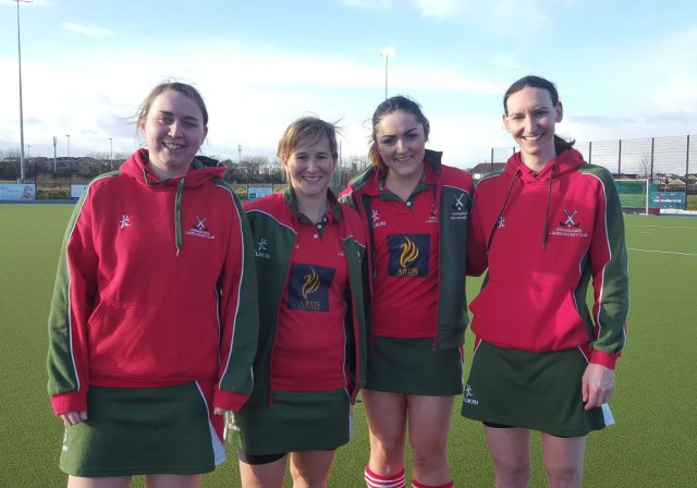 Donaghadee Ladies Hockey Club's 2XI scorers against CI 5XI: Sarah Harkness (5), Kerrie Turtle, Sarah-Louise Baird and Emily Morris